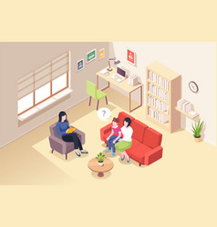 people psychologist counseling mother daughter vector image