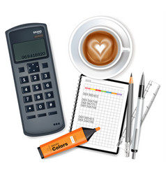 phone card coffee and marker realistic vector image