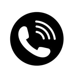 phone icon in black circle telephone symbol vector image