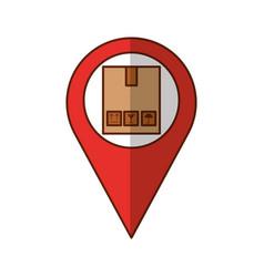 Pin location with box carton delivery icon vector