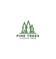 Pine tree line art logo design template vector