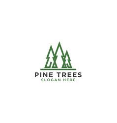 Pine tree line art logo design template vector