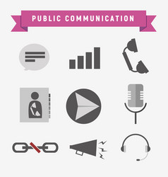 public communication icon set vector image