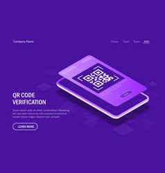 Qr code verification concept mobile phone with a vector