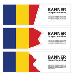Romania flag banners collection independence day vector