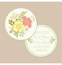 Round spring wedding invitation card vector