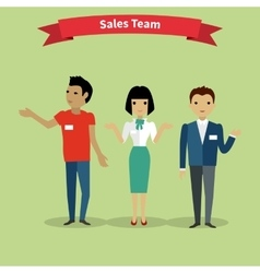 Sales team people group flat style vector