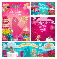 Save date wedding ceremony love in air vector