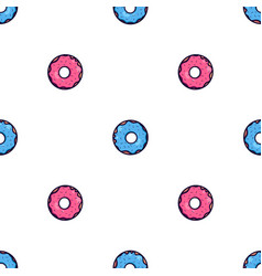 seamless texture with cute kawai pink and blue vector image