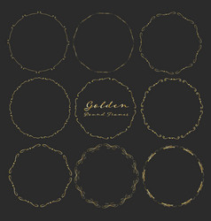 set of golden round frames for decoration vector image