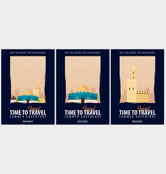 Set of posters travel to israel journey trip and vector