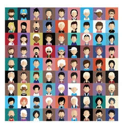 set people icons in flat style with faces 02 b vector image
