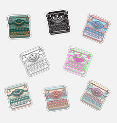 Set vintage sticker badges with typewriters vector