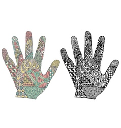 Silhouette hand with patterns vector