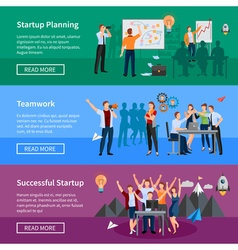 Startup People Flat Banners Set vector