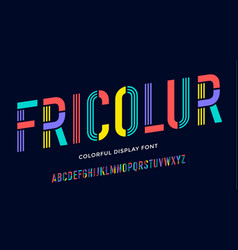 Stencil font colorful condensed alphabet and line vector