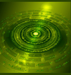Techno background with metal gears in green color vector
