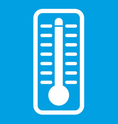 Thermometer indicates high temperature icon white vector