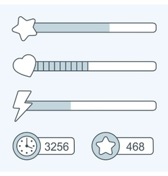 Thin line game time progress bar icons vector