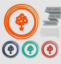 Tree icon on the red blue green orange buttons vector