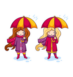 two cute little girls in pink coats and a big vector image