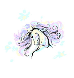 unicorn beautiful romantic smiling portrait hand vector image