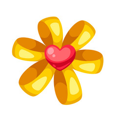 valentines day yellow shiny bow with heart vector image
