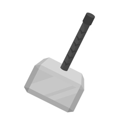 Viking battle hammer icon in monochrome style vector image