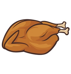 Whole roast turkey vector