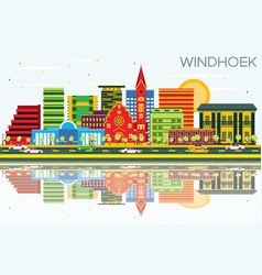 Windhoek skyline with color buildings blue sky vector
