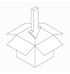 Box and pointing in arrow icon isometric 3d style vector image