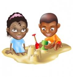 ethnic children on beach vector image