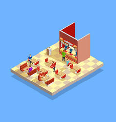 food court counter area isometric composition vector image