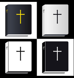Holy bible book pictogram set icons vector