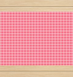 Pink Checkered Tablecloth on White Oak Wooden vector image vector image