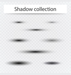 set of transparent oval shadow with soft edges vector image