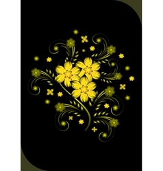 Abstract golden flowers on black background vector image vector image
