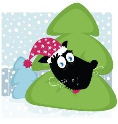 funny dog inside Christmas tree vector image vector image