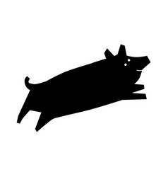 pig laser cutting path shadow vector image