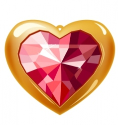 ruby gold heart vector image vector image
