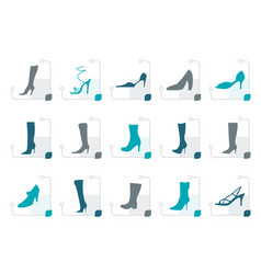 stylized shoe and boot icons vector image vector image