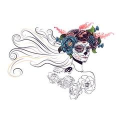 Sugar Skull Girl in Flower Crown11 vector image