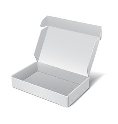 white realistic cardboard box package for vector image