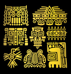 American golden ancient totems vector