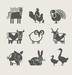 home animal set icon vector image vector image
