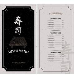 menu with hieroglyph sushi vector image vector image