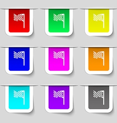 Racing flag icon sign set of multicolored modern vector