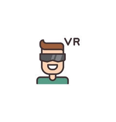 Virtual Reality Helmet Icon vector image vector image