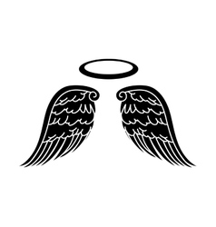 Wing halo angel icon vector