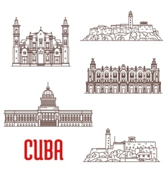 Cuba tourist architecture travel attraction icons vector image vector image
